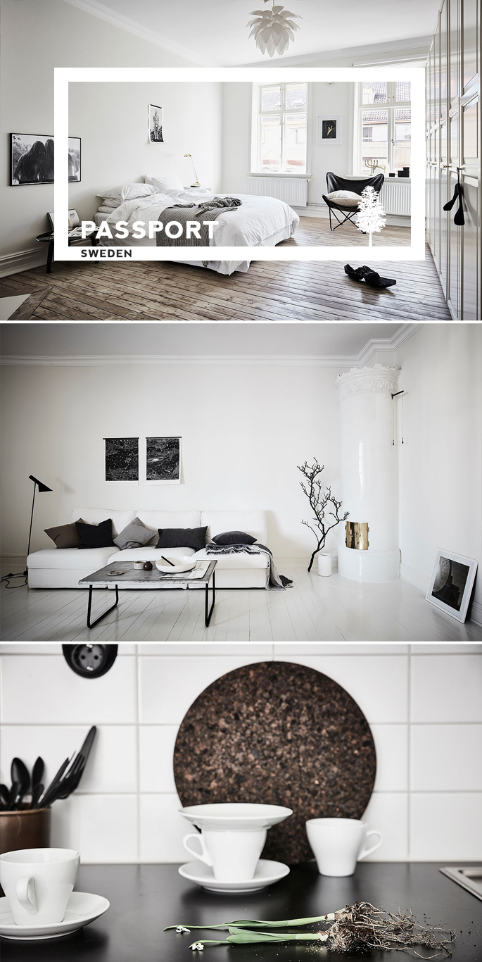 PASSPORT: 32B Scandinavian Apartment Tour, Goteborg, Sweden - Black and White Apartment
