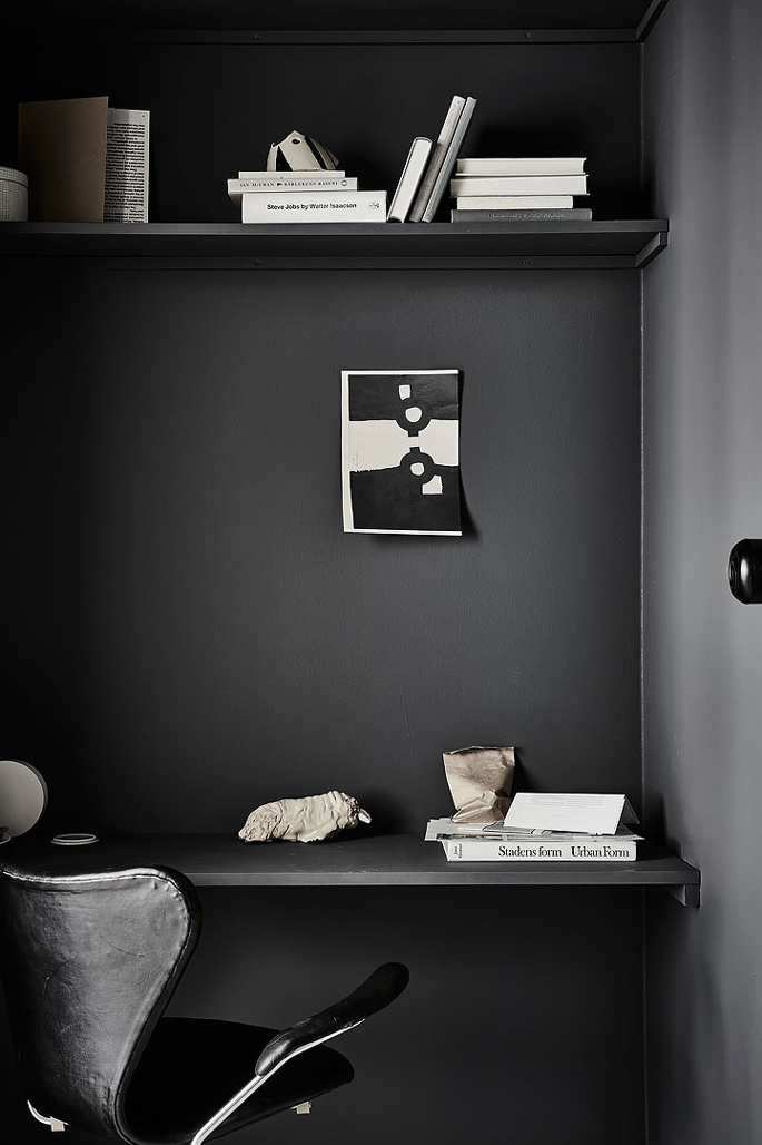 PASSPORT: 32B Scandinavian Apartment Tour, Goteborg, Sweden - Black and White Home Office