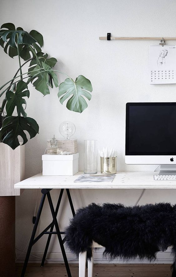 White home office decor ideas