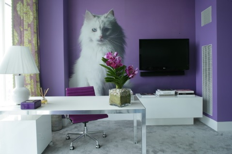 Purple home office decor ideas