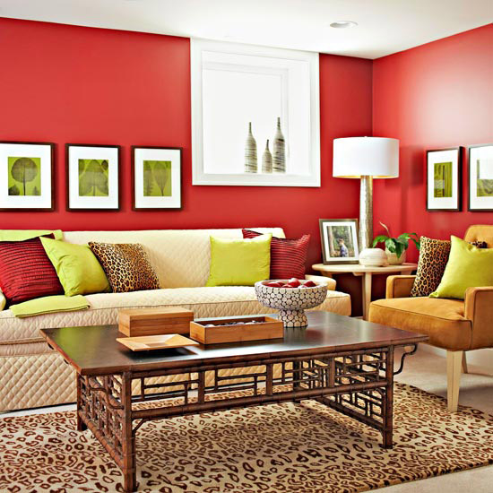 Red basement walls and decor ideas