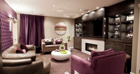 Purple basement decor ideas
