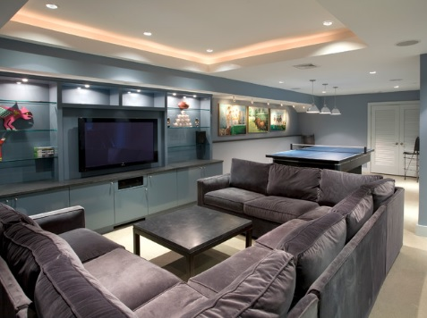 Blue basement walls and design ideas