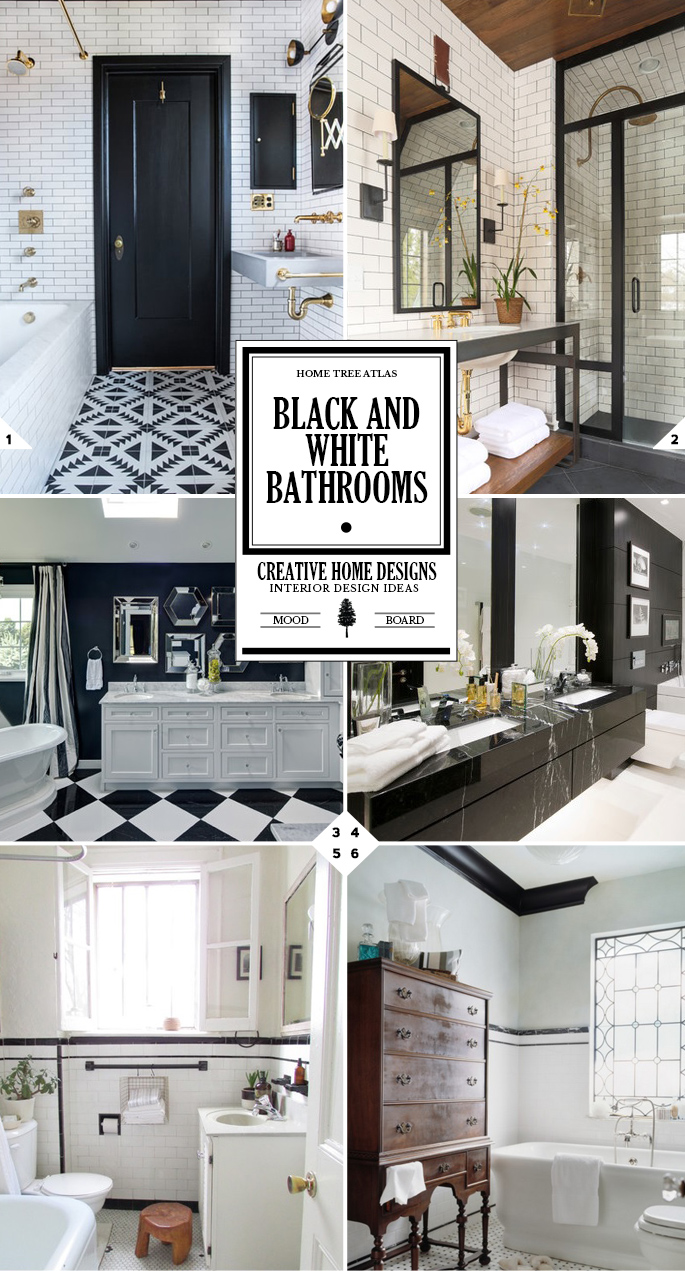 The classic look black and white bathroom decor ideas for Black and white bathroom sets