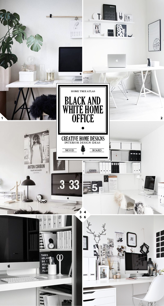 100 Black And White Home Office Decorating Ideas