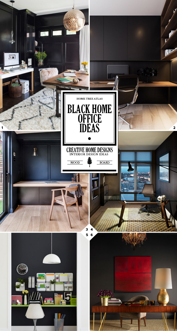 Color Style Guide: Black Home Office Ideas