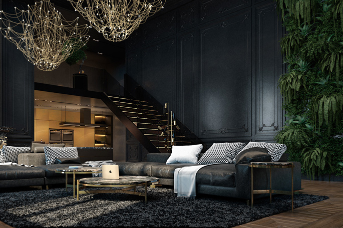 Luxury loft living room – black and gold