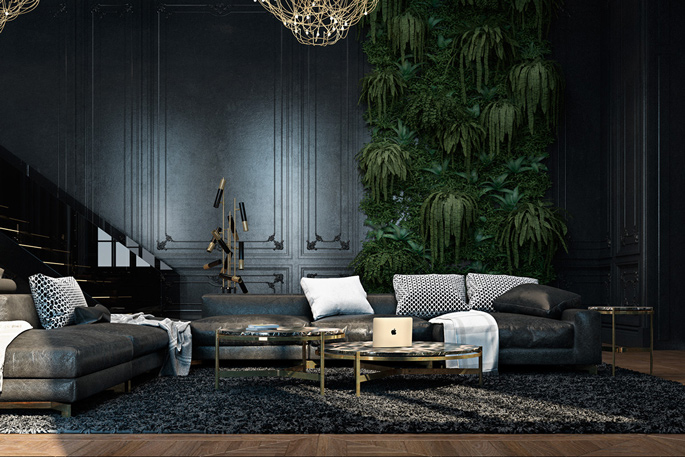 Luxury black and gold living room