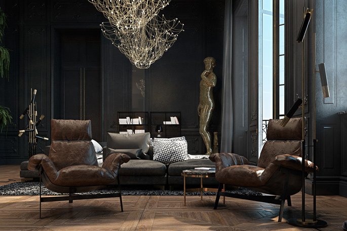 Luxury loft black and gold living room