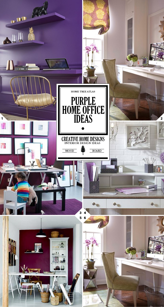 Color Style Guide: Purple Home Office Ideas