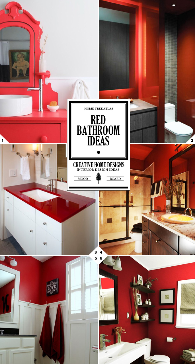 Red bathroom color ideas for Red and gold bathroom accessories