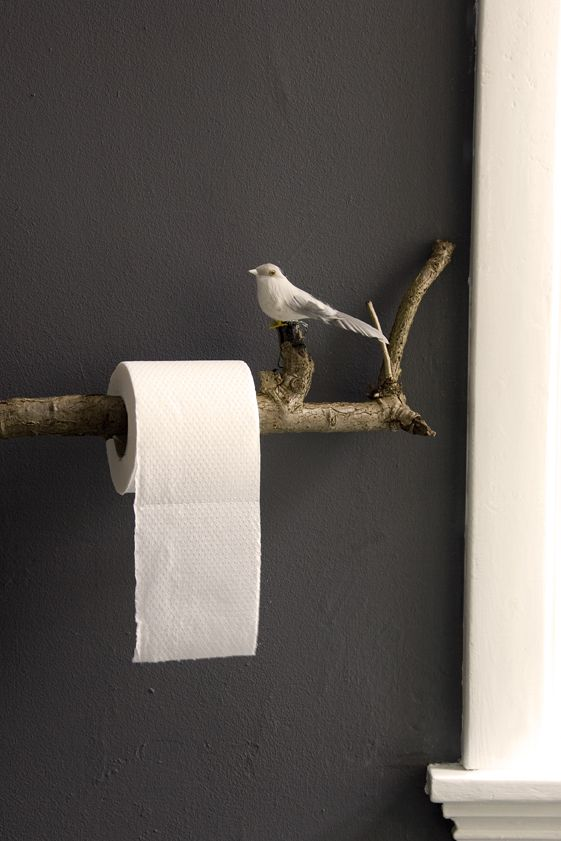 DIY toilet paper holder branch