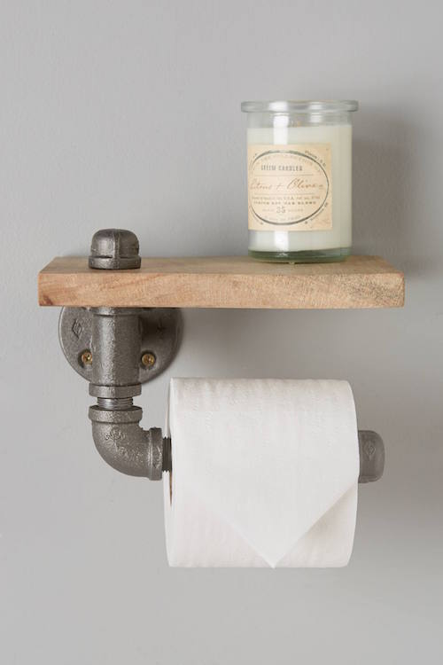 Pipe and Wooden toilet paper holder