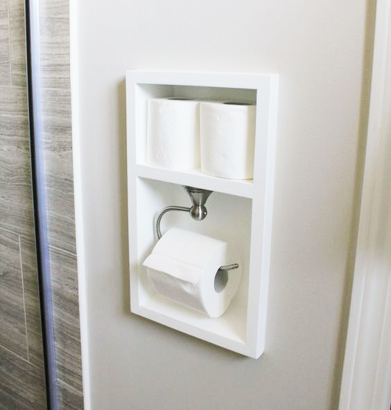 DIY recessed toilet paper holder