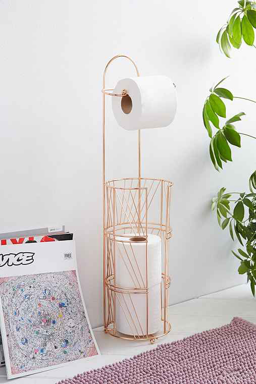 Copper vintage toilet paper holder