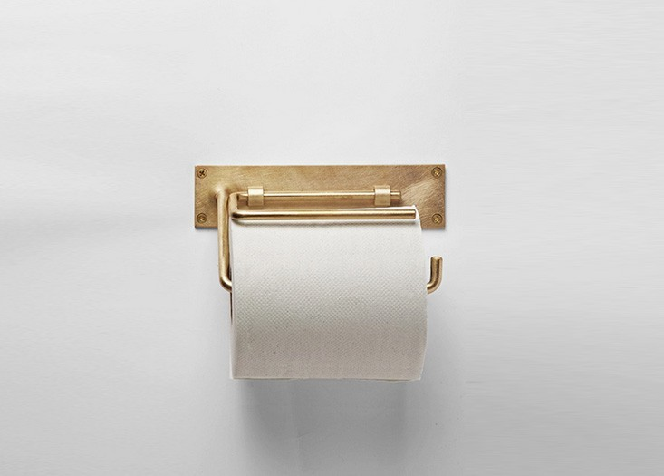 Brass vintage toilet paper holder