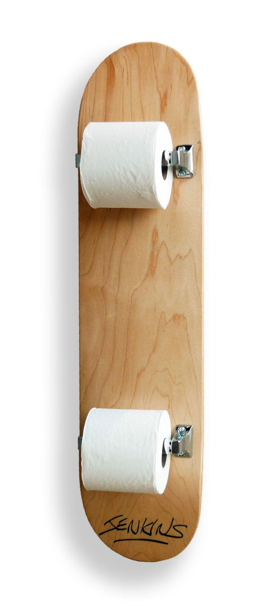 Skateboard toilet paper holder