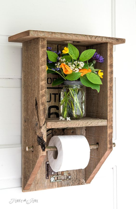 DIY toilet paper shelf