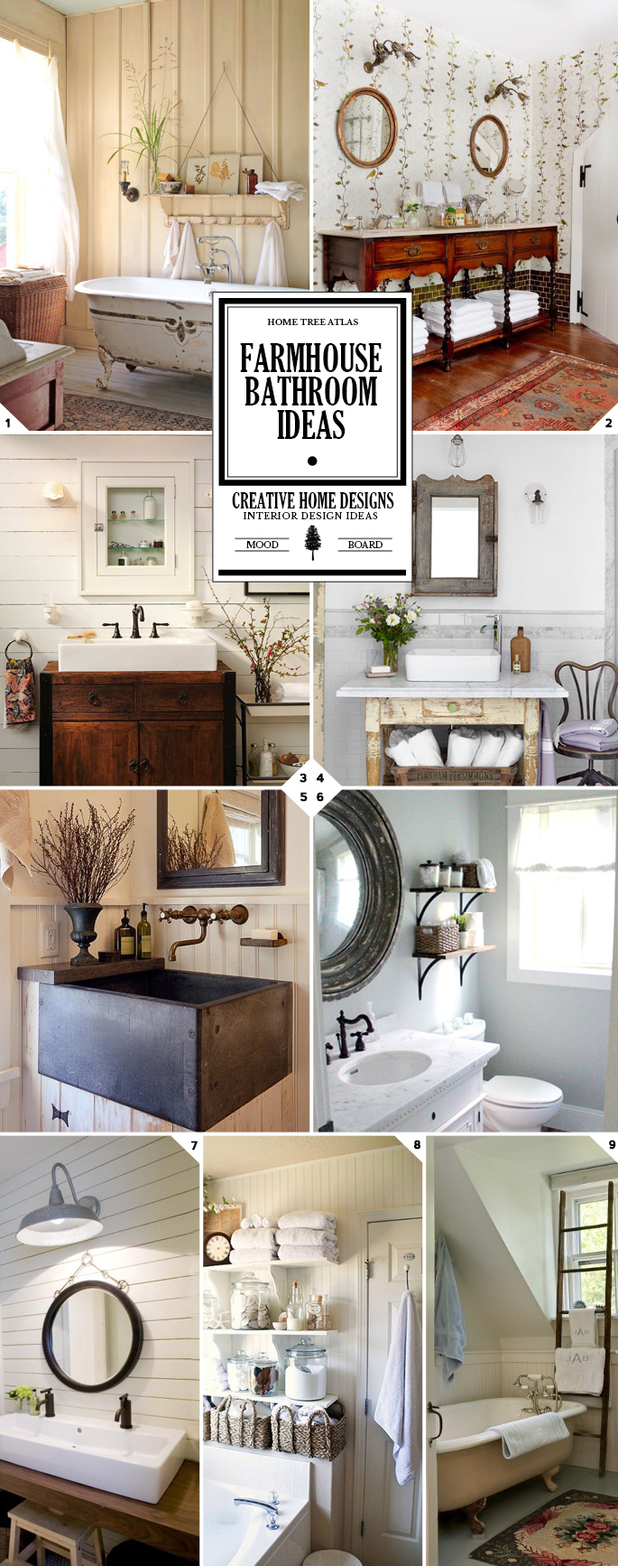 Farmhouse Bathroom Ideas and Decor Tips (Vanity, Sink, Lighting, and Storage Ideas)