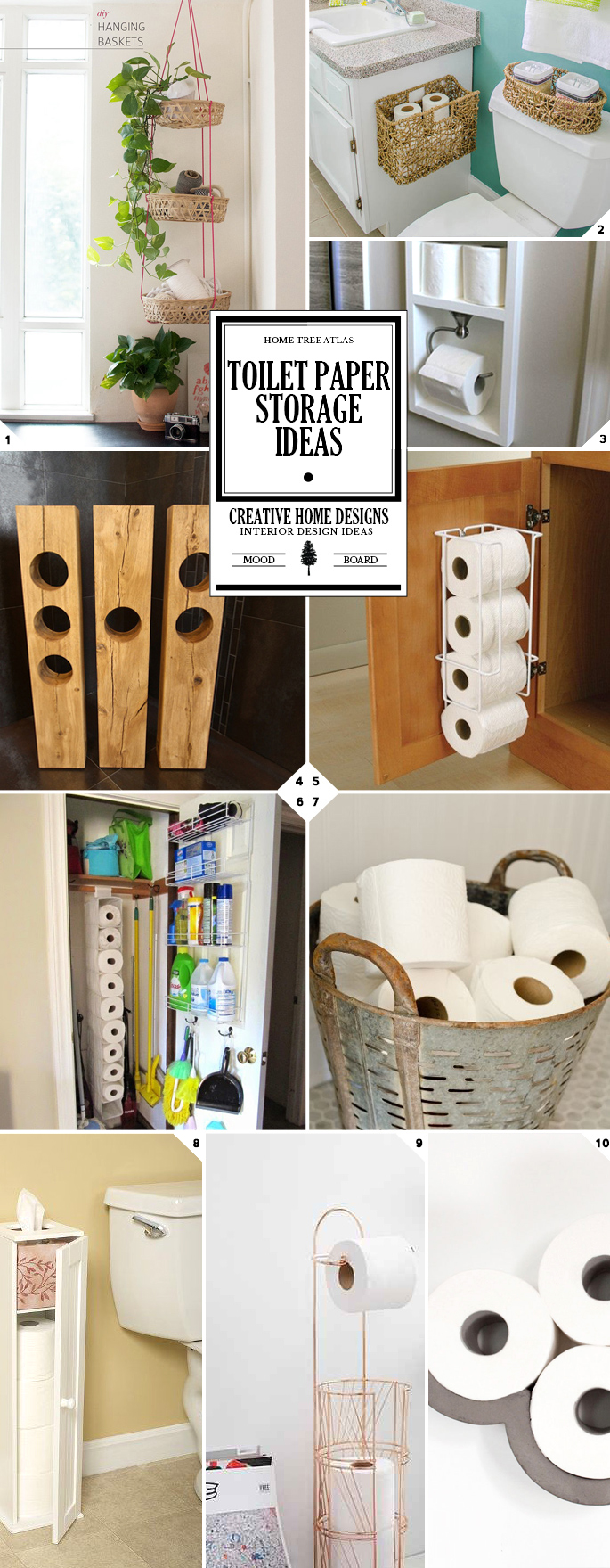 Bathroom toilet paper storage ideas (DIY, and for small spaces)