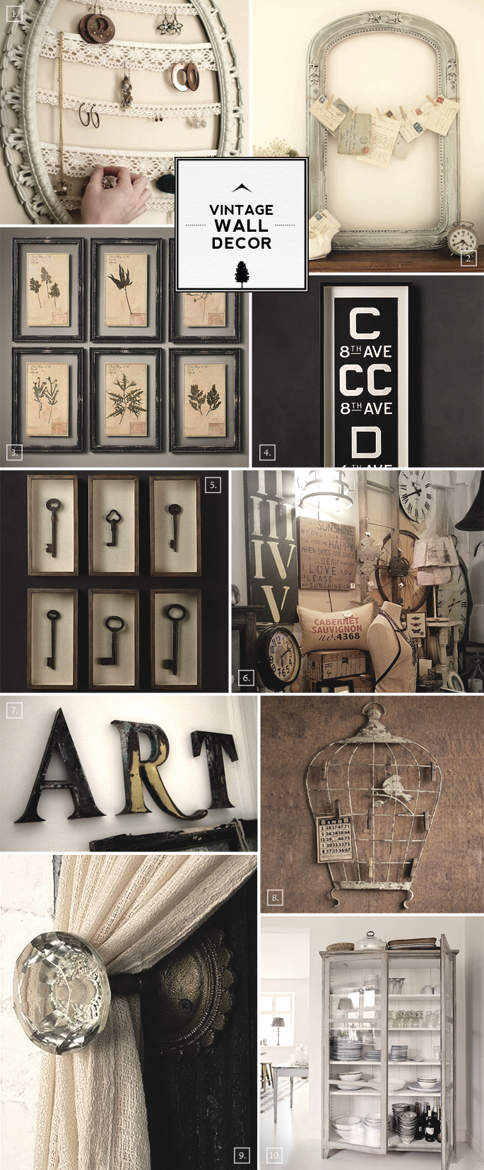 Top Vintage Wall Decor Ideas: From Bird Cages to Designing with Frames  JK63