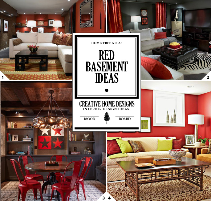 Home Design Basement Ideas: Color Style Guide: Red Basement Design Ideas
